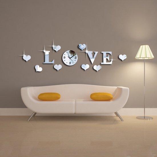 Muurstickers Slaapkamer Love.Bol Com Love Spiegel Muursticker Inclusief Klok Voor Slaapkamer