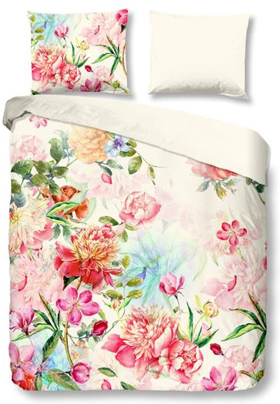 Snoozing Flowers - Flanel - Dekbedovertrek - Lits-jumeaux - 240x200/220 cm + 2 kussenslopen 60x70 cm - Multi kleur
