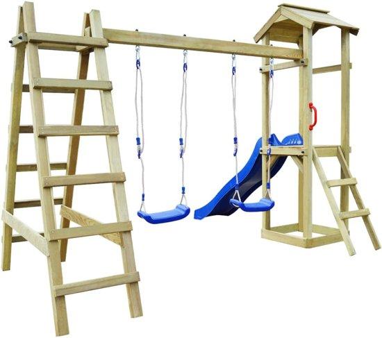 vidaXL Speelhuis met ladder en schommels 286x237x218 cm FSC grenenhout