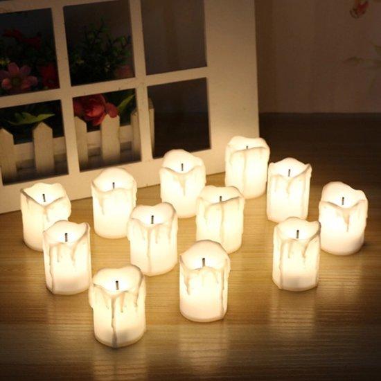 Set van 6 x Vlamloze Led kaars / kaarsen. Elektrische decoratie kaarsen op batterijen.
