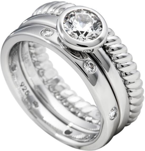 Diamonfire - Zilveren combinatiering Maat 18.0 - Gedraaid - Solitaire - Gladde ring