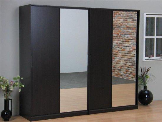 bol | tvilum kaja schuifdeurkast 4-deurs kledingkast met spiegel