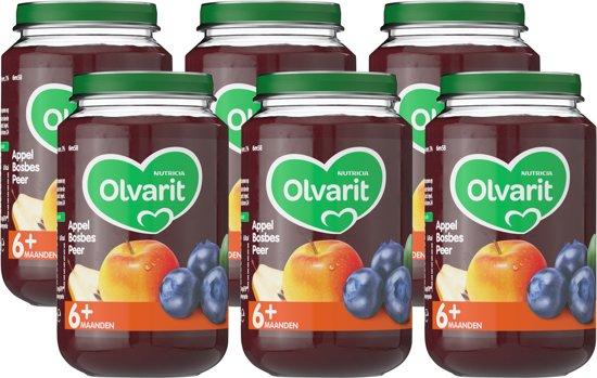 Olvarit 6 maanden Fruithapjes - appel bosbes peer - 6x200 gram