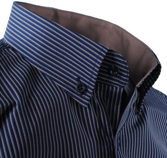 Bruin Gestreept Overhemd Navy Enrico PoloHeren Borstzak kZPXuTilwO