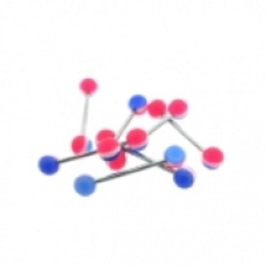 Tongpiercing acryl wit/blauw/roze