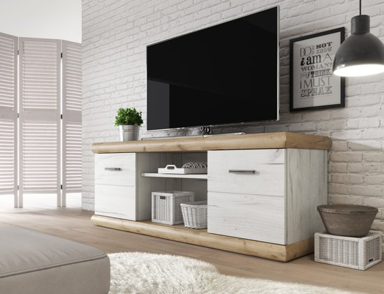 Eiken Tv Meubel Wit.Bol Com Meubella Tv Meubel Crown Wit Licht Eiken 157 Cm