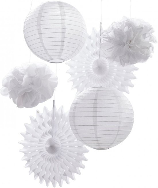 Hangende feestdecoratie kit | Lampionnen | Waaiers | Pompoms | Wit Valentinaa