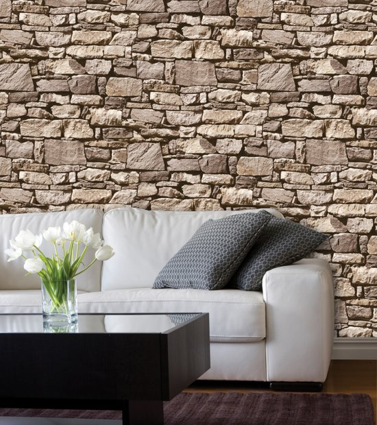 Dutch wallcoverings schuimvinylbehang stenen for Wat is vliesbehang