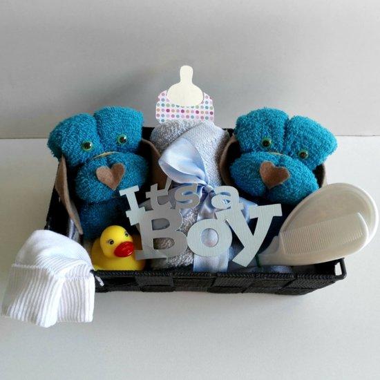 Baby Hondjes In Mandje Blauw | Kraamcadeau | Kraampakket