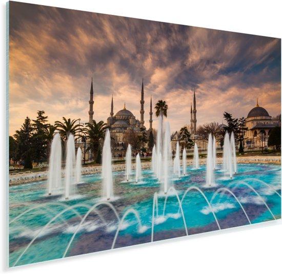 Fontein voor de blauwe moskee in Istanbul Turkije Plexiglas 180x120 cm - Foto print op Glas (Plexiglas wanddecoratie) XXL / Groot formaat!