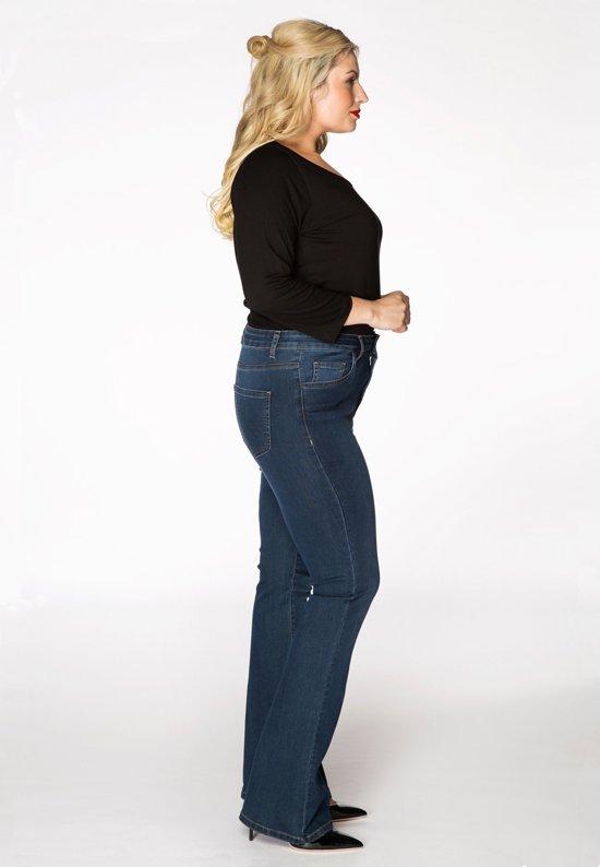 Yoek grote maten flared jeans dames | donkerblauw maat 54