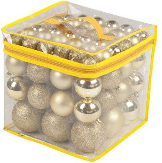 77 Kerstballen Goudkleurig met opbergtas (Plastic)Christmas Gifts