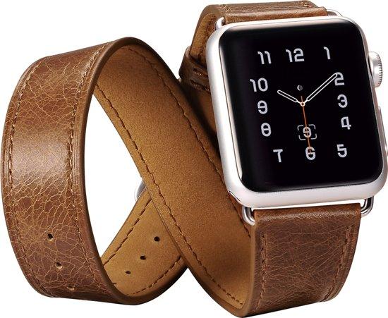 iCarer - Klassiek Apple Watch bandje 4-delig - Bruin - 42mm