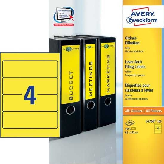 Avery Ordnerrugetiketten, geel, 192,0 x 61,0 mm, permanent klevend