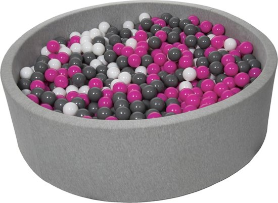 Ballenbak - stevige ballenbad - 125 cm - 1200 ballen Ø 7 cm - wit, roze, grijs.
