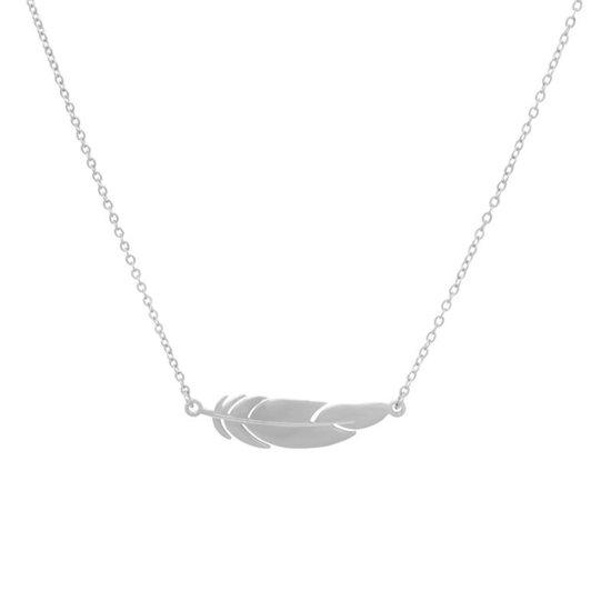 Zilveren Veertje Ketting | Stainless Steel | 925 Zilver | Hanger - 43+3 cm | Fashion Favorite
