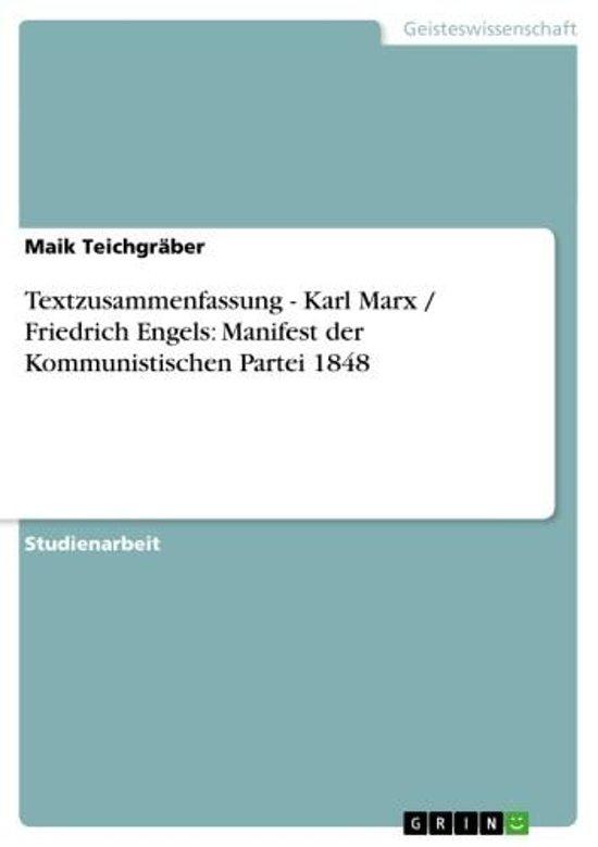 Bolcom Textzusammenfassung Karl Marx Friedrich Engels