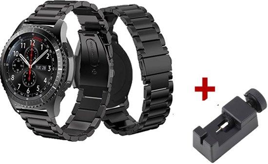 Bandje Voor de Samsung Gear S3 Classic / Frontier  - RVS Armband / Polsband / Strap Band / Sportbandje - Zwart