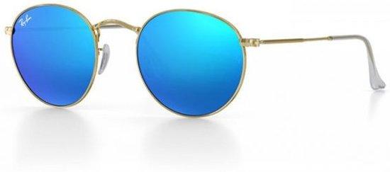 a35391edae81e2 Ray-Ban round flash lenses - goud montuur met blauwe flash lenzen - 50 mm