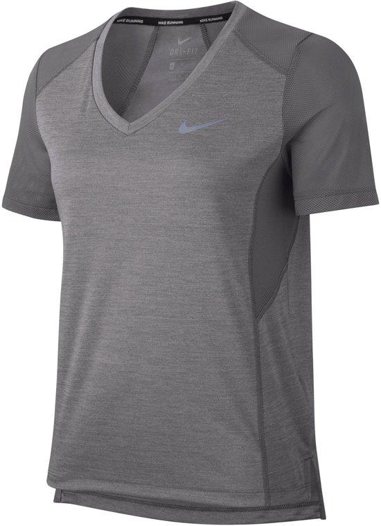 Nike Miler V-neck  Sportshirt - Maat S  - Vrouwen - grijs