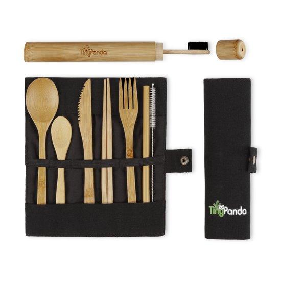 Bestek Set van Bamboe met Bamboe Tandenborstel - Herbruikbaar Bamboe Servies - Camping Bestek - Bamboo Cutlery Set– Handig voor op reis - 10-delig met o.a. een herbruikbaar Bamboe Rietje