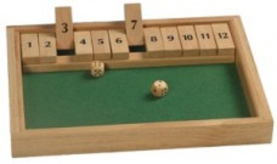 Hot games Shut the box 12 cijfers 31x23x3cm hout