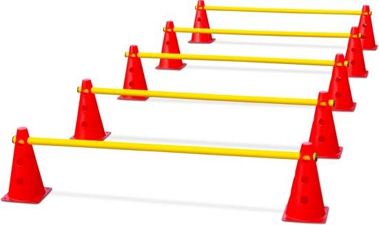 Vinex - 15 delige Kegel hordenset - Pionnen horden set - hoogte verstelbaar - 10 rode kegels - 5 gele dwarsstangen
