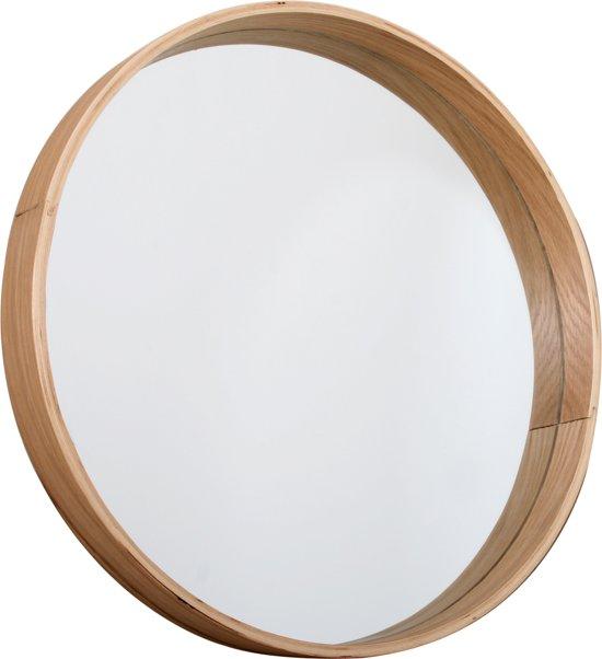 Butik living mirror round wood spiegel hout for Ronde spiegel met touw