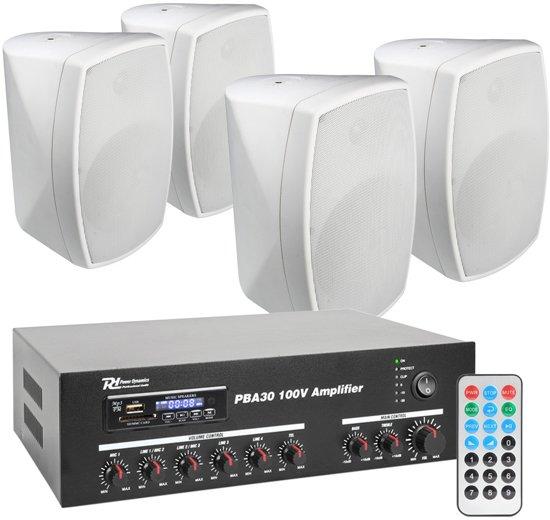 power dynamics pba30 100v geluidsinstallatie met 4 witte