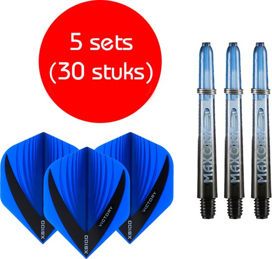 Dragon darts - Maxgrip – 5 sets - darts shafts - zwart-blauw - inbetween – en 5 sets – Vista blauw – darts flights