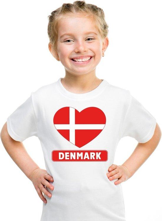 Denemarken kinder t-shirt met Deense vlag in hart wit jongens en meisjes XS (110-116)