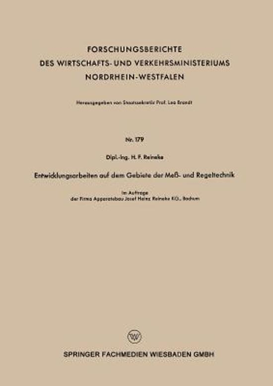 Entwicklungsarbeiten Auf Dem Gebiete Der Me - Und Regeltechnik
