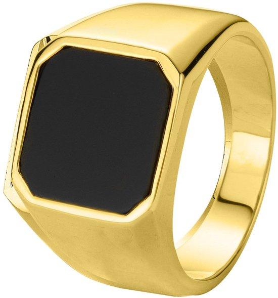 Lucardi Goldplated Zegelring - Onyx