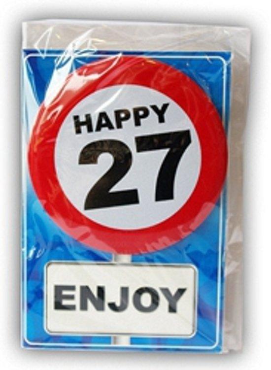 Happy Birthday kaart met button 27 jaar