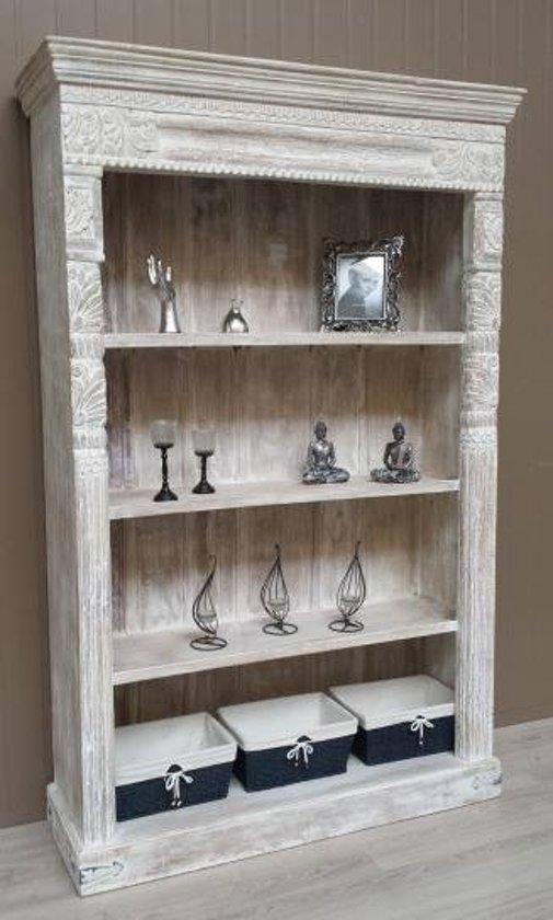 Brocant boekenkast bruin hout - Boekenkast hout en ijzer ...