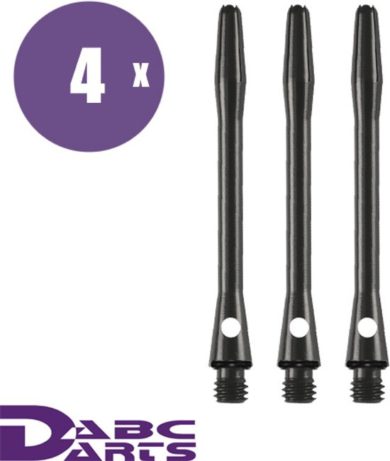 abcdarts darts shafts aluminium shaft zwart medium - 4 sets darts shafts