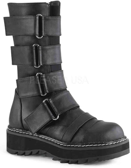 LILITH-211 - (EU 36 = US 6) - 1 1/4 PF Front Strap Mid-Calf Boot, Side Zip