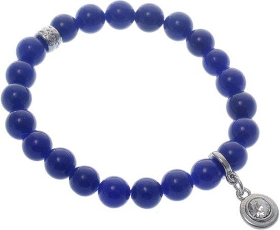 Blauwe elastische armband met halfedelsteen kralen