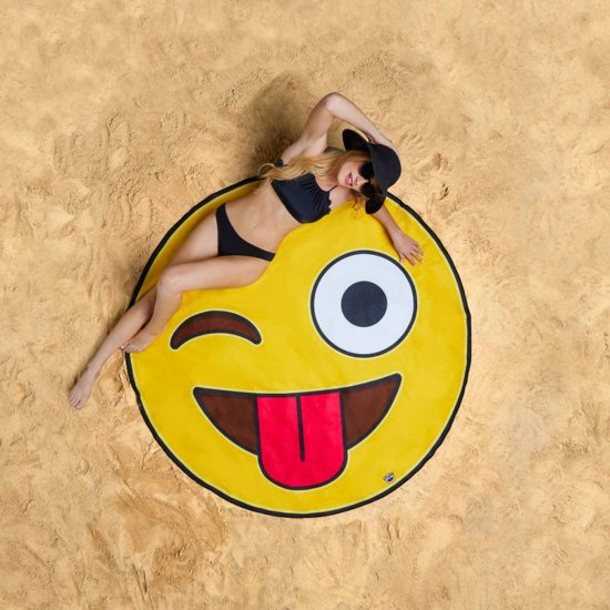 Emoji Strandlaken - Beach Blanket Emoji - Big Mouth badlaken -  ø 1,5 meter