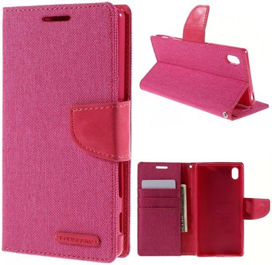 Mercury Goospery - Sony Xperia Z5 Hoesje - Wallet Case Canvas Roze in Sint-Katherina-Lombeek
