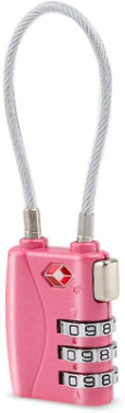 TSA Cijferslot met Kabel voor Reiskoffer en Handbagage – Reis Hangslot Roze