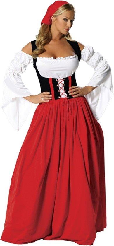 9be1c8c4e2c5ff Oktoberfest jurk rood en zwart - dirndl lang model maat 40