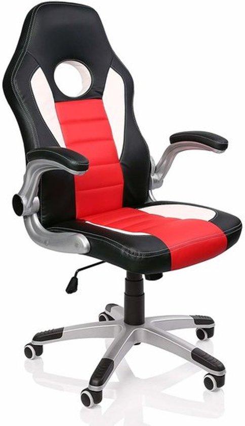 Verstelbare Bureaustoel Zwart.Bol Com Racing Bureaustoel Zwart Wit Rood Gevoerde En Verstelbare