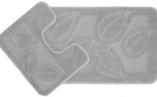 bol.com | Mare WC en BADMAT - bladeren grijs 50x80 cm + 40x50 cm