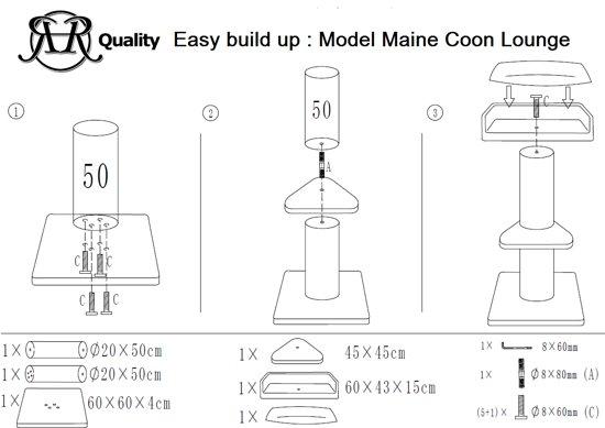 Krabpaal Maine Coon Lounge Licht Grijs voor grote katten