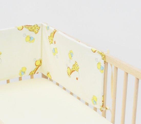 Bedbumper met hemel  100% katoen  30cm x 180cm  Giraffen Teddyberen Beige