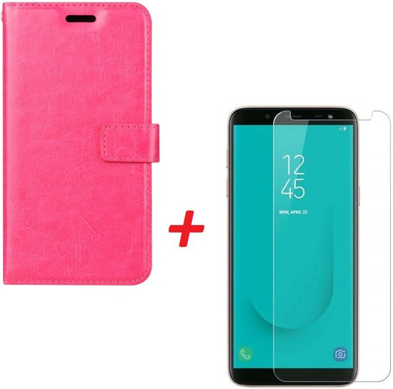 Samsung Galaxy A6 2018 Portemonnee hoesje roze met Tempered Glas Screen protector