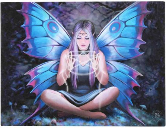 Spell Weaver Anne Stokes, Het Stripfiguur canvas wanddecoratie  Fee die een pentagram weeft
