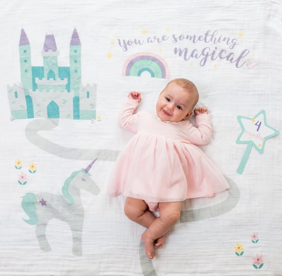 Lulujo Baby's Firsy Year swaddle & cards - Something Magical