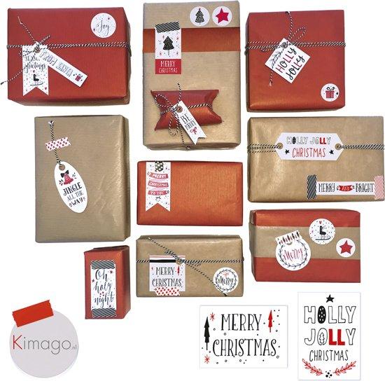 Inpak Set Kerst Cadeaupapier Inpakpapier Kladpapier Labels Stickers